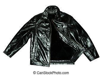 Black leather jacket - Black jacket isolated on the white...
