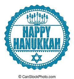Happy Hanukkah stamp - Happy Hanukkah rubber grunge stamp...