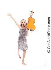 young girl in dress happy with violin