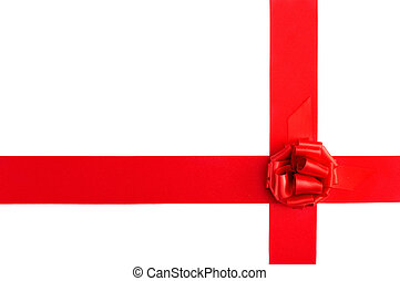 red satin ribbonb bow - a red satin ribbon with a bow on a...