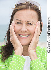 Joyful happy attractive middle aged woman - Portrait joyful...