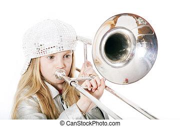 trombón, niña, gorra, joven, juego
