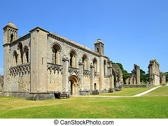 Glastonbury Abbey in Somerset - The historic ruins of...