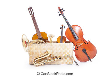 musical instruments in box against white background