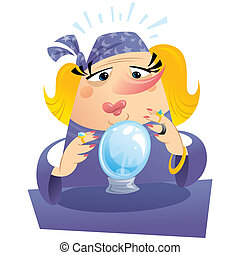 Witch gypsy clairvoyant looking to a crystal sphere telling...