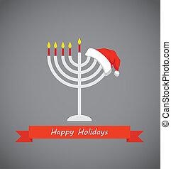 happy holidays, merry christmas and happy hanukkah