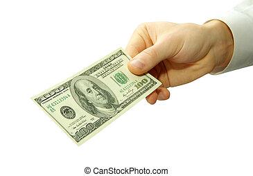 money in hand - Money in hands on white