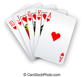 Poker cards Straight Flush hearts hand - Royal straight...