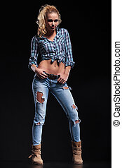 full body picture of a hot young woman in jeans shirt and...