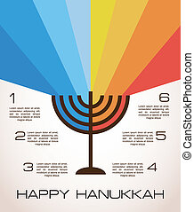 hanukkah infographics, hanukkah menorah with rainbow lights