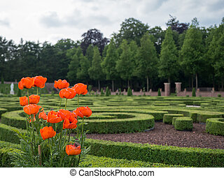 Gardens at Het Loo Palace, Netherlands - Flowers in the...