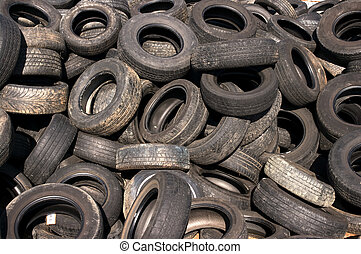 Tires pile - A pile of old tires in a junkyard
