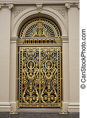Door at Het Loo palace, Netherlands - One of the gilded...