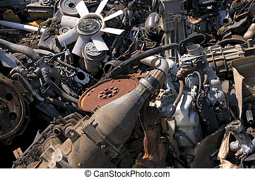 Old engines - A pile of old engines for metal recycling