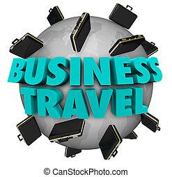 Business Travel Words Briefcases Around World