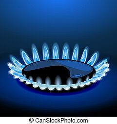 Flames of gas stove in the dark. Vector