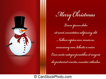 Christmas card. Celebration background with snowman and place for your text.