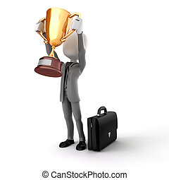 3d man businessman holding a gold trophy cup on white...
