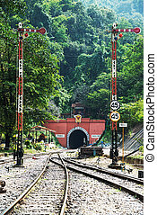 railway track and tunnel