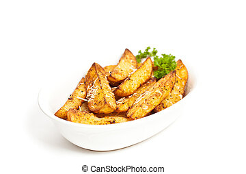 Potato Wedges - Baked Potato Wedges With Parmesan