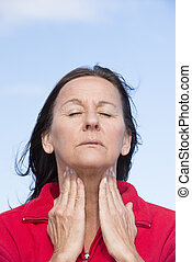 Woman suffering from pain in throat - Portrait attractive...