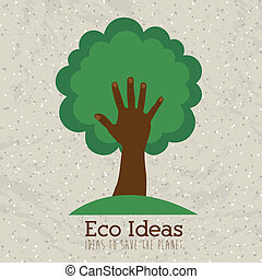 eco ideas over pattern background vector illustration