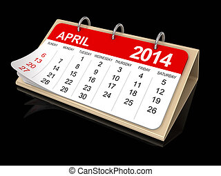 Calendar - April 2014 - Calendar year 2014 image Image with...