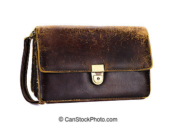 Used mens wrist brown bag on white background