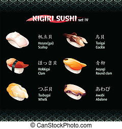 Nigiri sushi IV - Nigiri sushi with scallop, clam, whelk,...