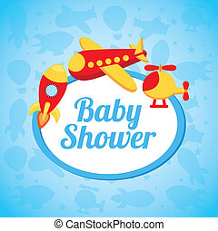 baby shower design over blue background vector illustration...
