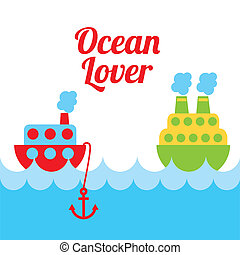 ocean love design over white background vector illustration