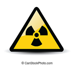 Yellow triangle sign with a radiation symbol