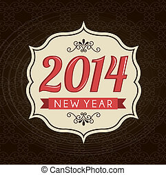 happy new year 2014 over brown background vector...