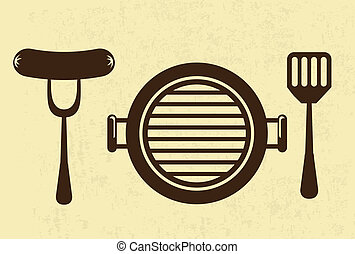grill menu over pink background vector illustration
