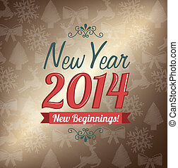 happy new year 2014 over pattern background vector...