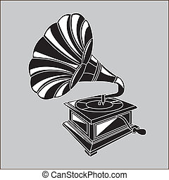 gramophone design over gray color background vector...