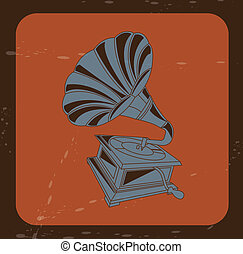 gramophone design over brick color background vector...