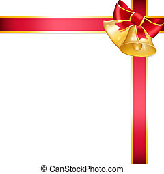 Golden bell and red ribbon. Vector illustration