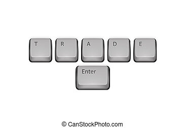 Word Trade on keyboard and enter key. Vector concept...
