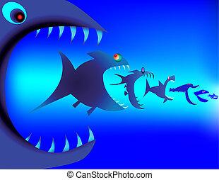 Fish predators devour each other
