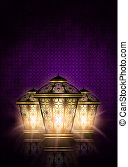 ramadan kareem background with shiny lanterns - dark ramadan...