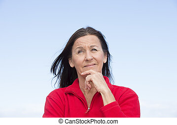 Thoughtful attractive mature woman - Portrait attractive...