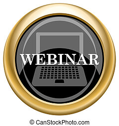 Webinar icon - Shiny glossy icon with white design on black...