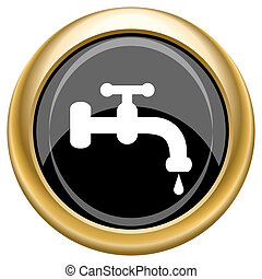 Water tap icon - Shiny glossy icon with white design on...