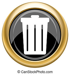 Bin icon - Shiny glossy icon with white design on black and...