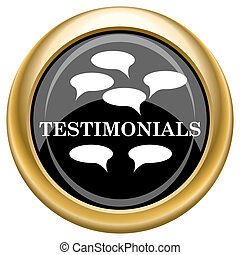 Testimonials icon - Shiny glossy icon with white design on...