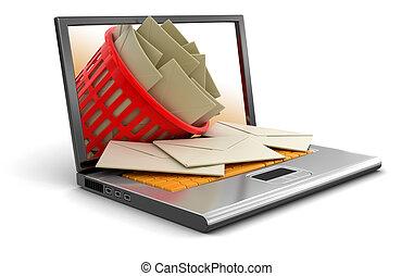 ordinateur portable, déchets, panier, lettres