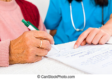 Contract with Nursing Home - Nurse helping elderly with...