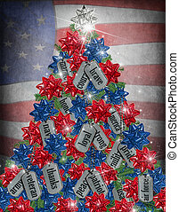 military Christmas tree - Christmas tree with dog tags and...