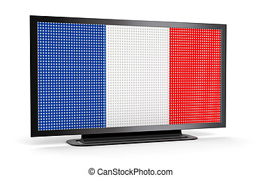 TV with French Flag Image with clipping path